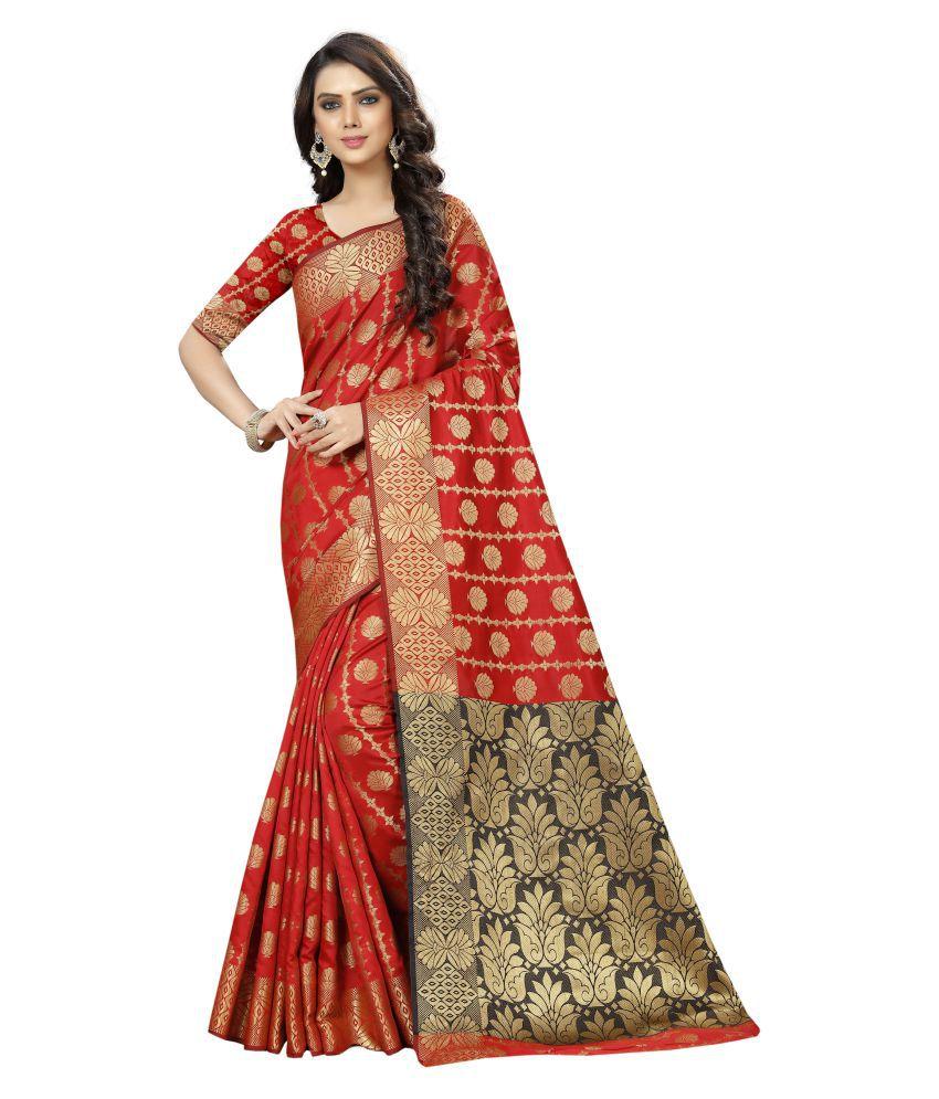 INDIATELLME Red and Beige Silk Saree
