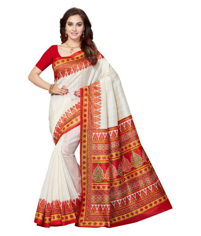 700a508ebc2 Ishin White and Red Bhagalpuri Silk Saree - Buy Ishin White and Red  Bhagalpuri Silk Saree Online at Low Price - Snapdeal.com