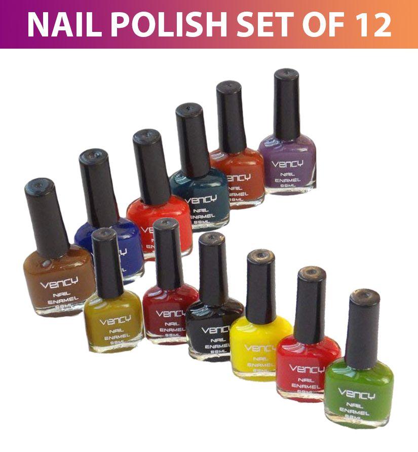 Vency Nail Enamel Polish Kit Multi Shades Dark Shade Glossy 600 No S