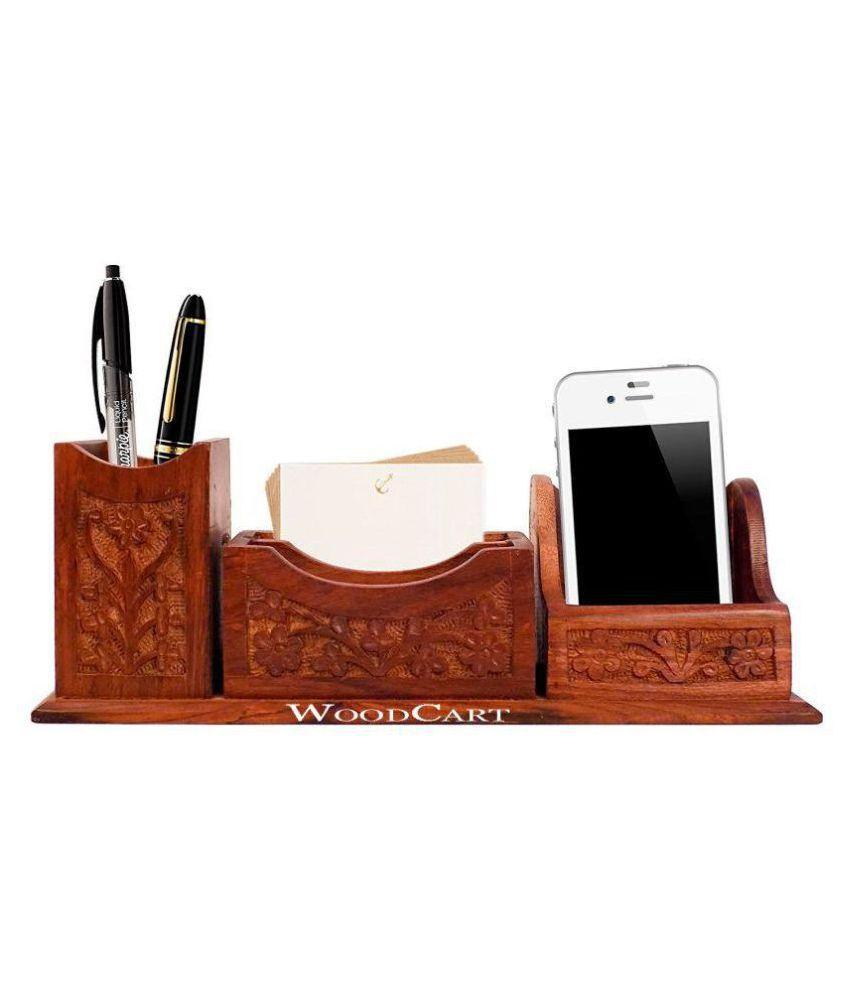 H Ndmade Wooden Desk Organizer Pen Stand Business Card Holder