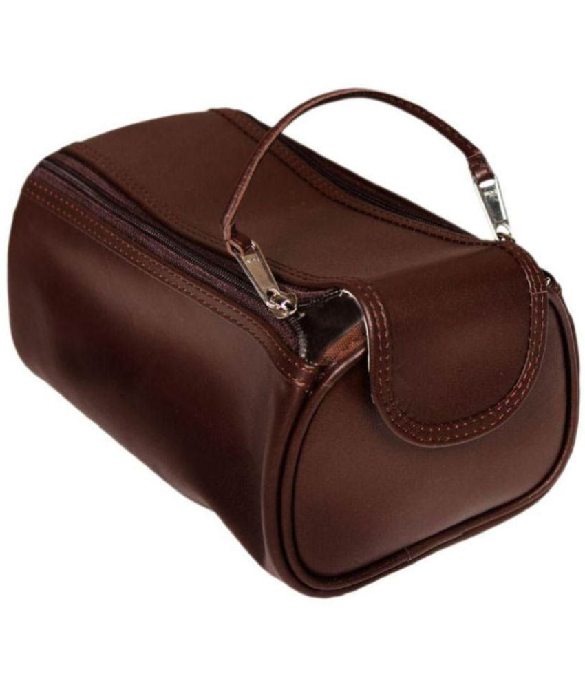Leather World Brown Toiletry Kit Travel pouch Case