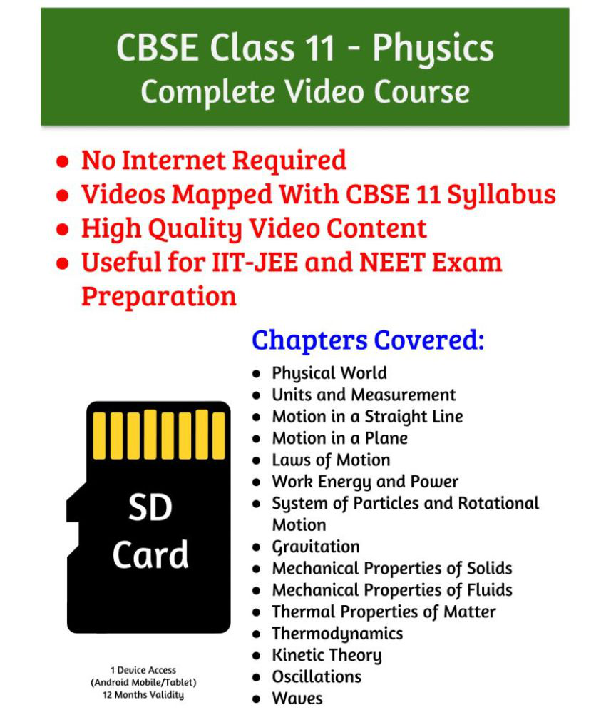 LearnFatafat CBSE Class 11 Physics Educational Video Lectures SD Card