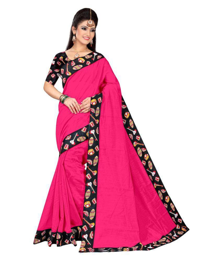 b6a17c60d9 Pemal Designer Pink and Black Chanderi Saree - Buy Pemal Designer Pink and  Black Chanderi Saree Online at Low Price - Snapdeal.com