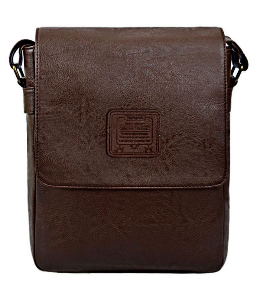 Purseus Brown P.U. Casual Messenger Bag