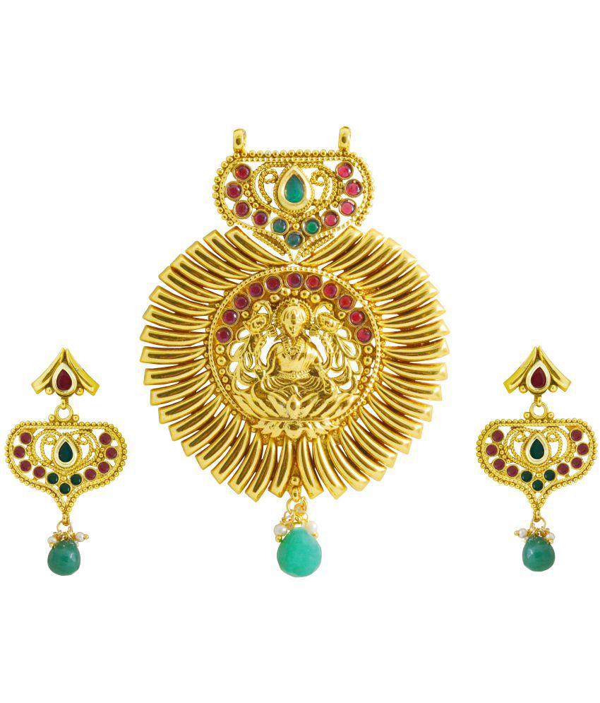Rejewel Laxmi Pendant Set For Festive Wear