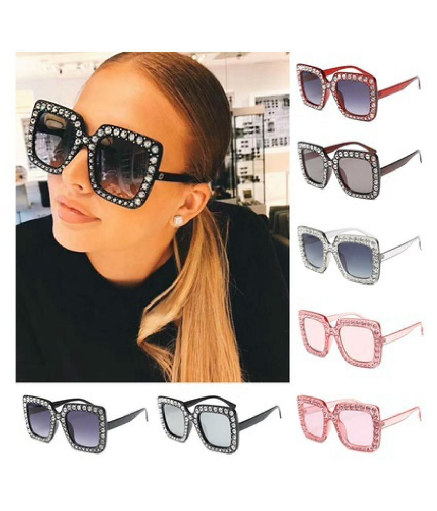Swagger Women Rhinestones Sunglasses Square UV Protection Eyeglasses Fashion Eyewear Sold by ZXG