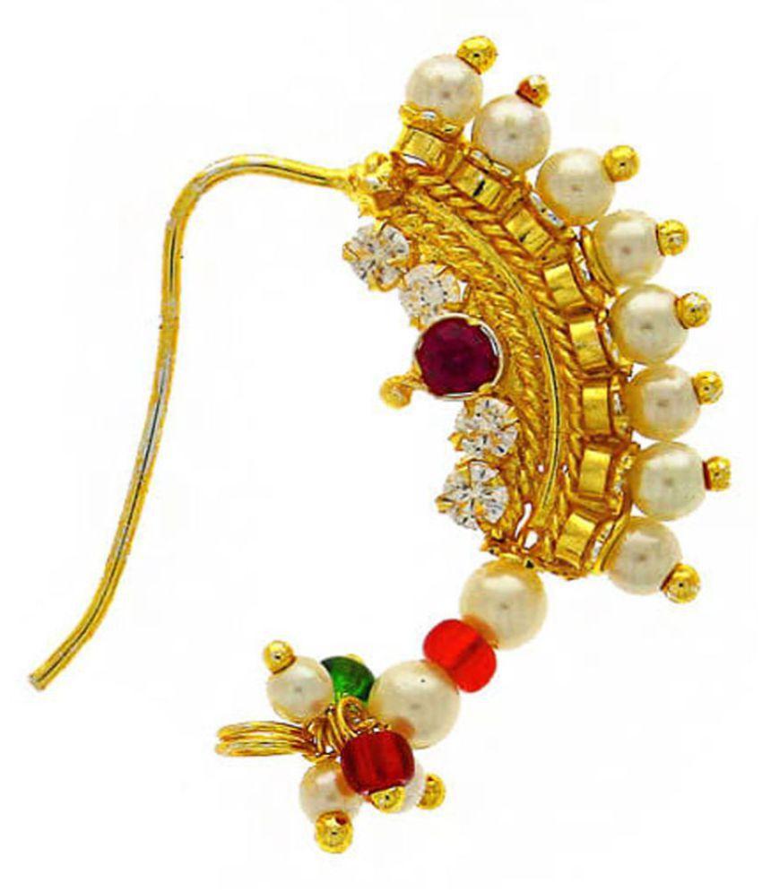Aionios Creations Bajirao Mastani Kashibai S Clip On Nath Traditional Maharashtrian Nose Ring For Women And Girls