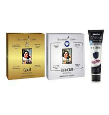 2 ADDED. Shahnaz Husain Gold & Diamond Facial Kit + Charcoal Peel Off Mask
