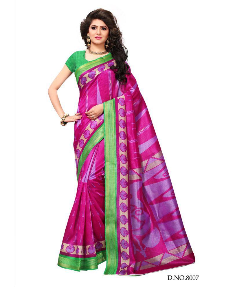Active Feel Free Life Pink Cotton Silk Saree
