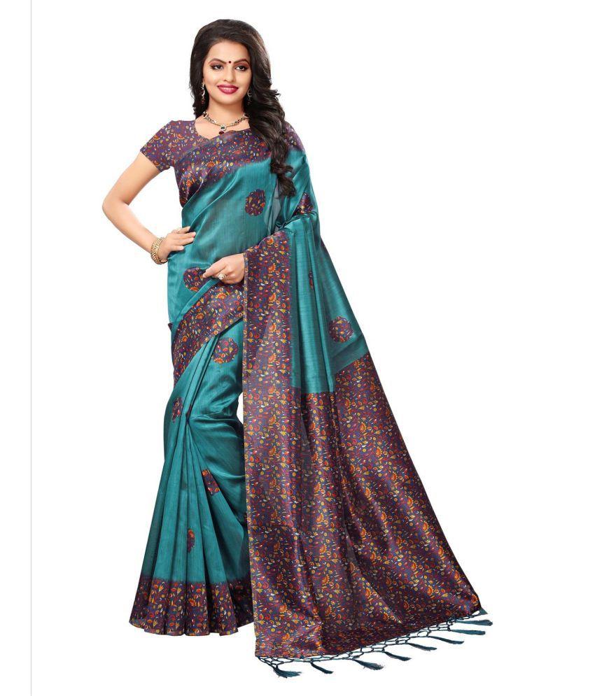 Active Feel Free Life Turquoise Tussar Silk Saree