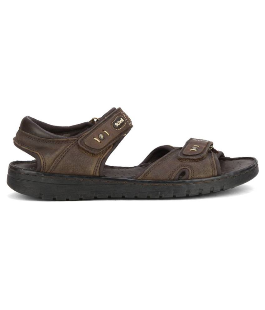 Bata Sports Sandals Brown Faux Leather