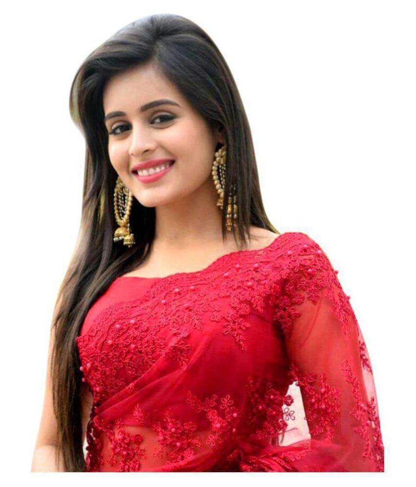 16d5469de3 Manjula Feb Red Net Saree - Buy Manjula Feb Red Net Saree Online at ...
