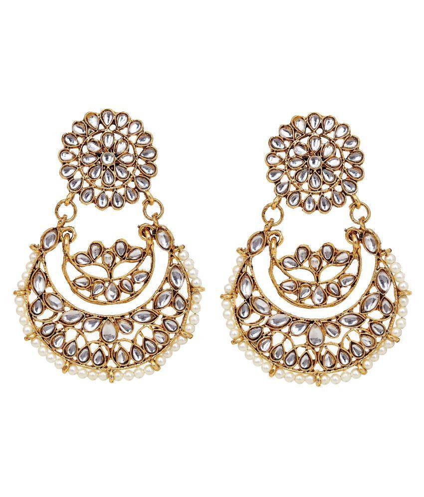 Jewelcents 9292 Flower Chandbali Stone Earrings