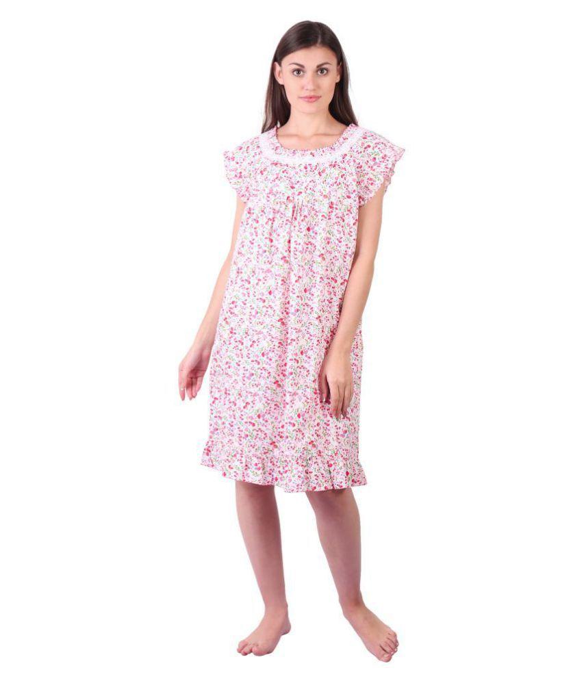 LDHSATI Satin Nighty & Night Gowns - Pink