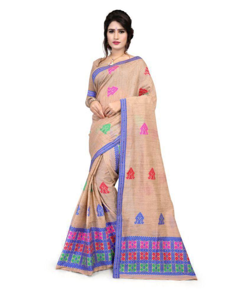 S. Kiran's Beige Chanderi Saree