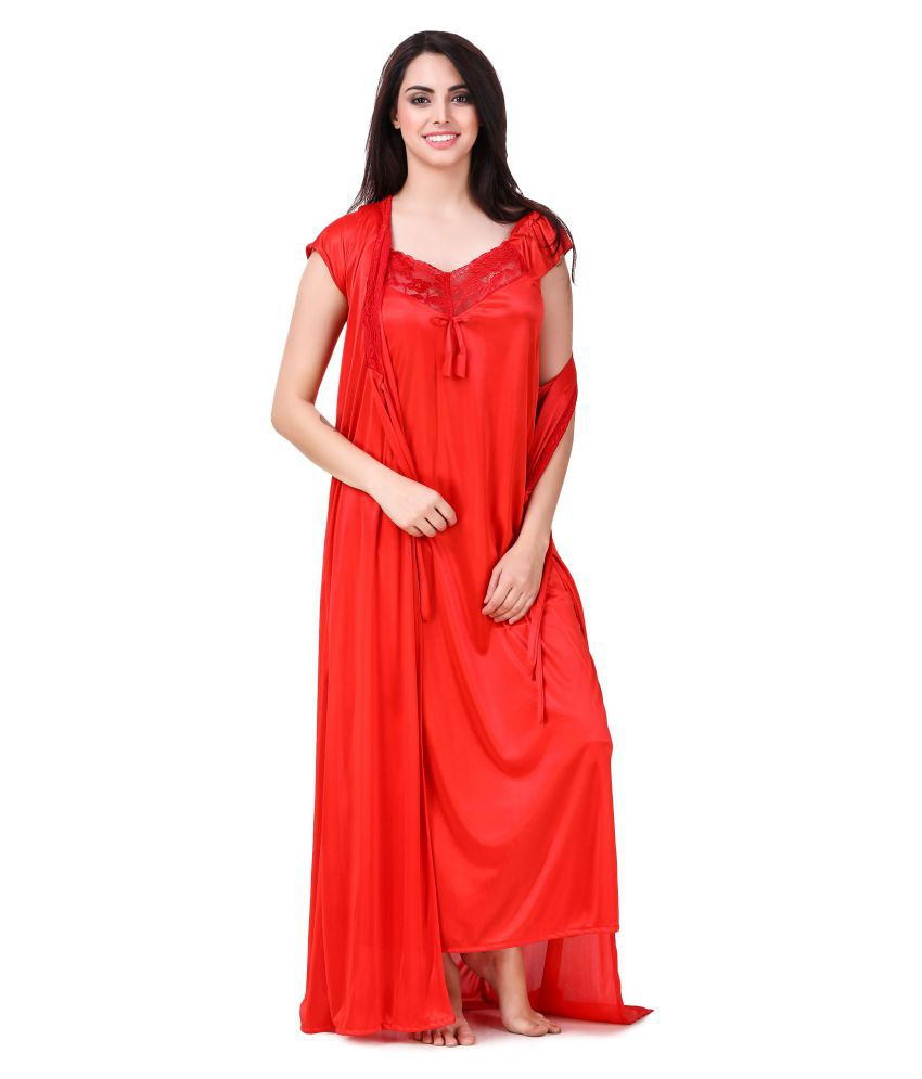 19d86e9c792 Buy keoti Satin Nighty   Night Gowns - Red Online at Best Prices in ...