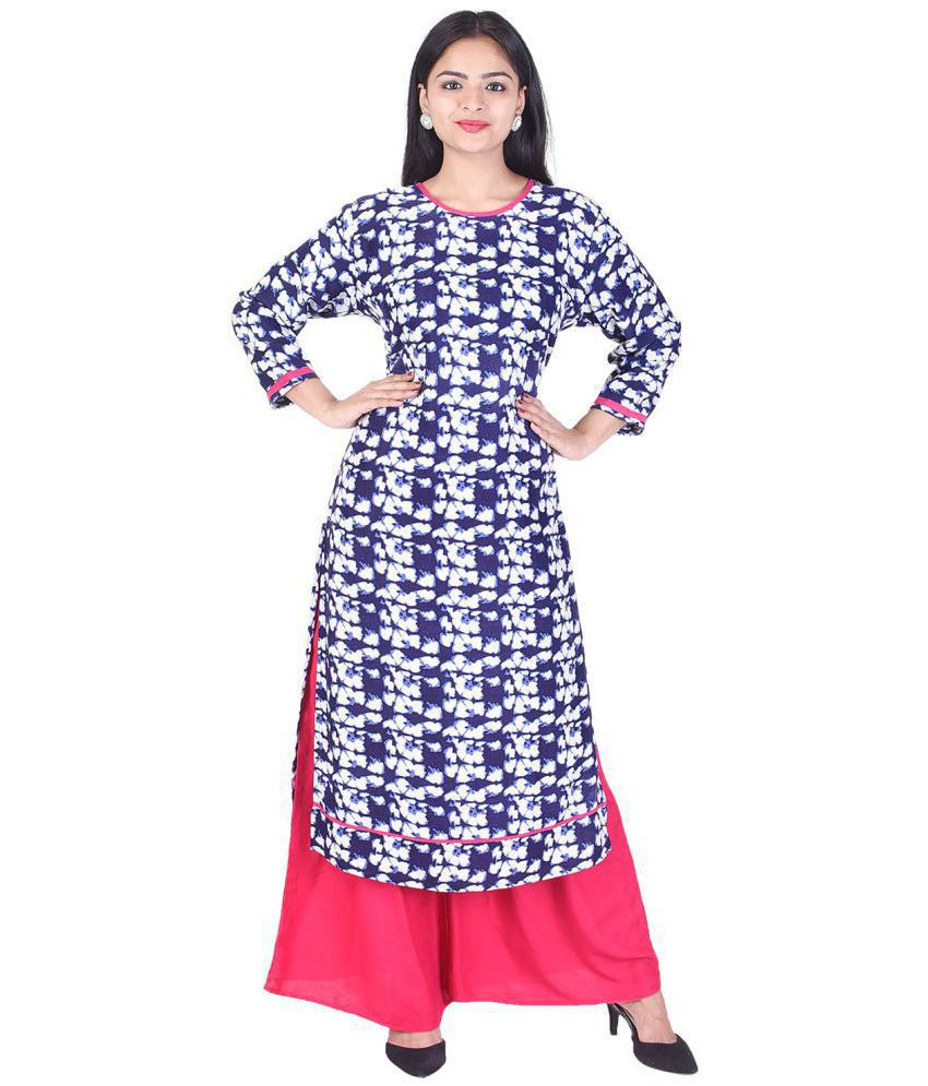 EMPRAL Blue Rayon Straight Stitched Suit