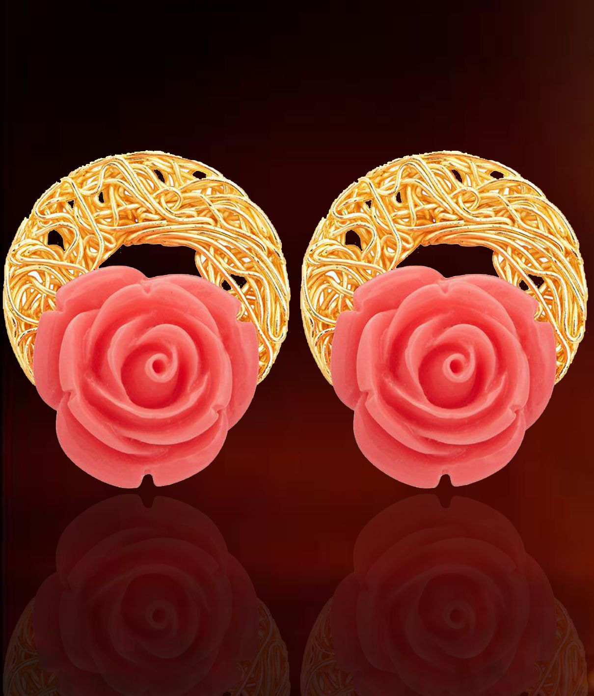 Sukkhi Golden Alloy Stud Earrings