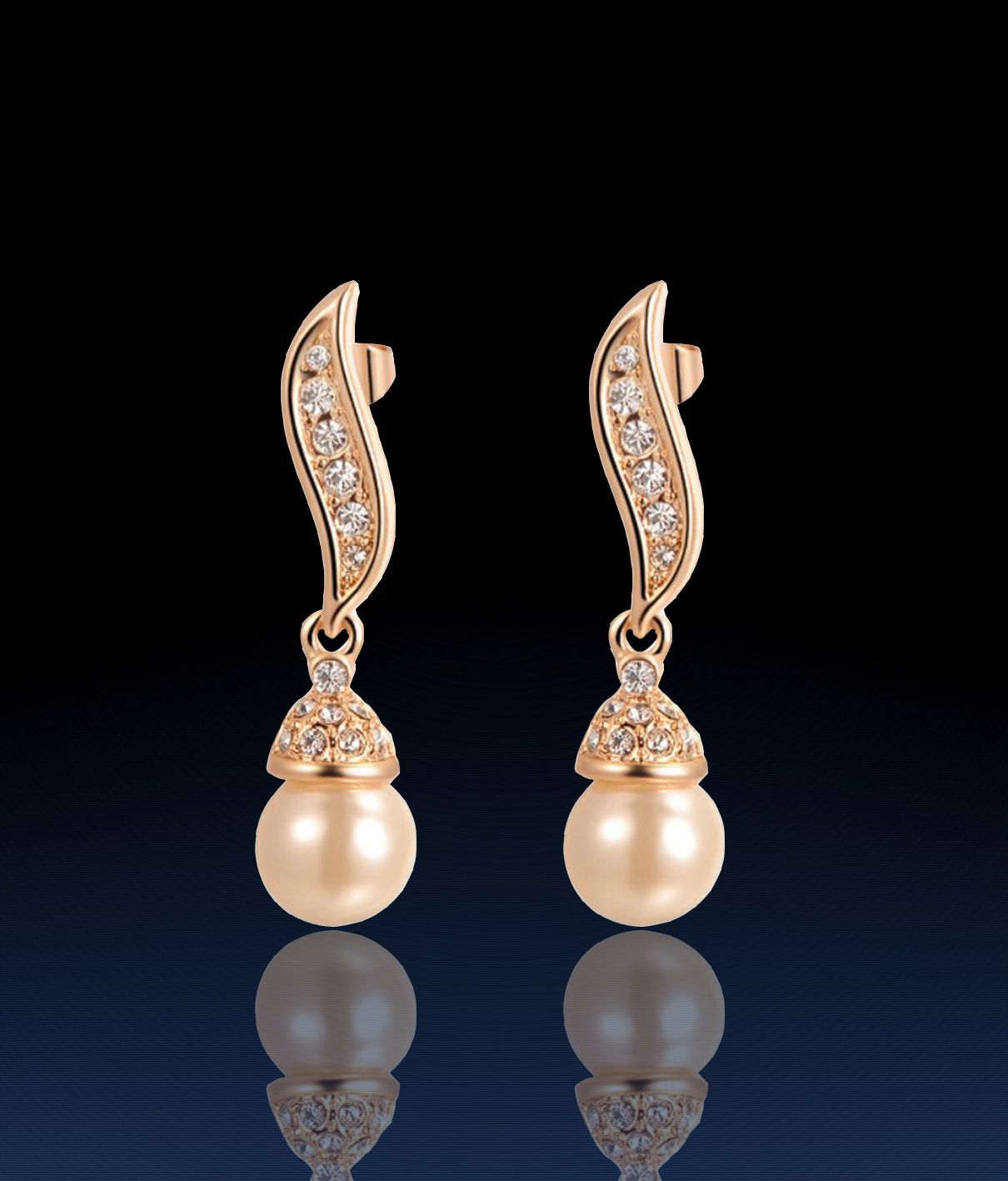 Kaizer Jewelry Freshwater Pearl Gold Plated Stud Earrings