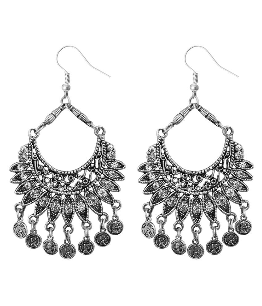 JewelMaze Oxidised Afghani Earrings-1311277
