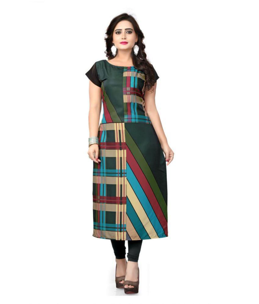 Pervious Fashion Multicoloured Crepe A-line Kurti