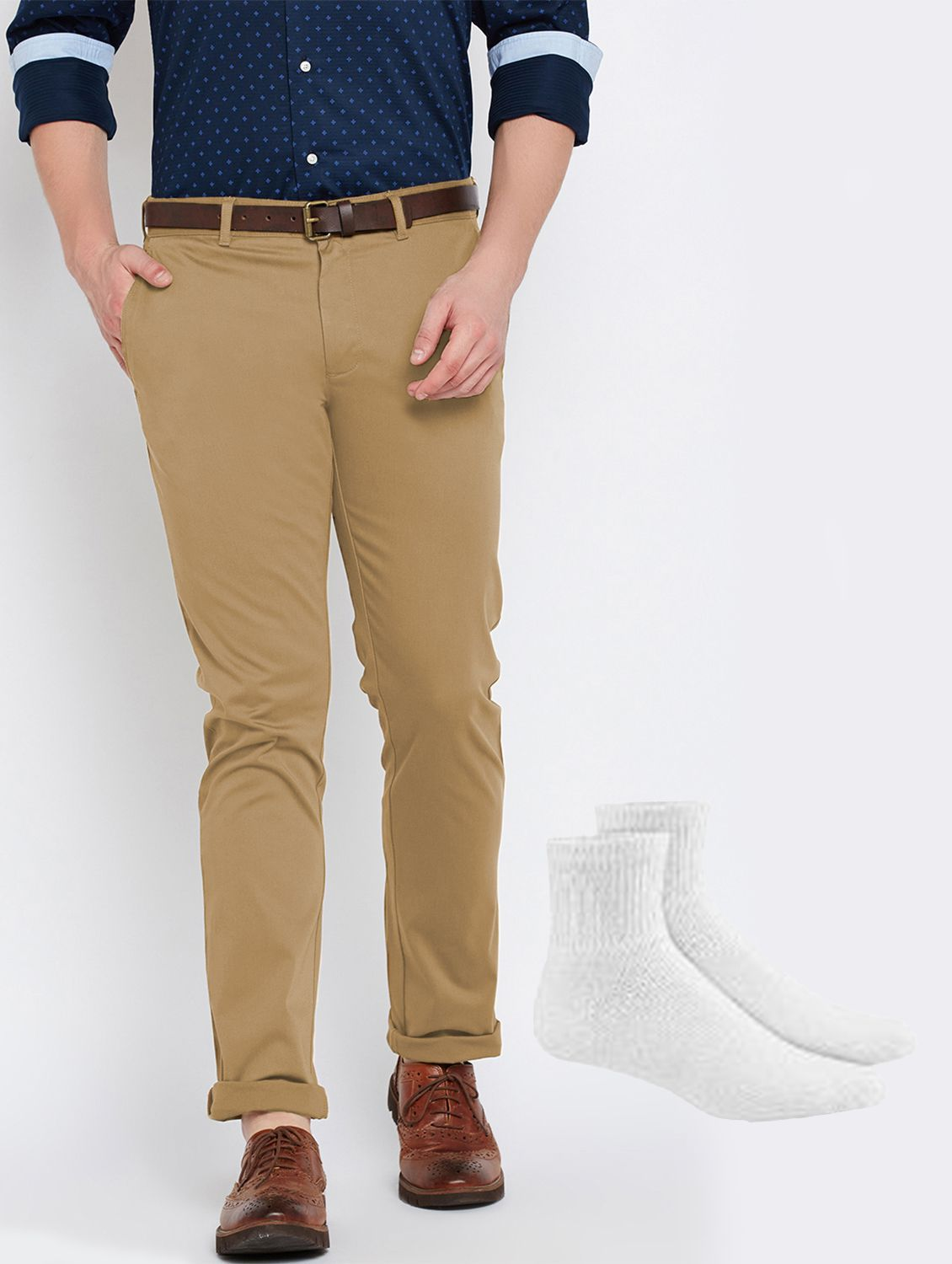 Van Galis Multi Regular -Fit Flat Chinos