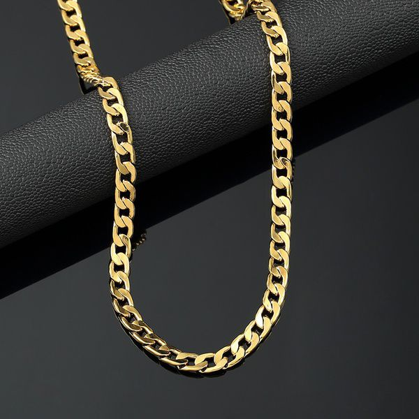 Kamalife 18K Gold Plated 6mm Men's NK Links Figaro Chain Necklace 18-30 Inches