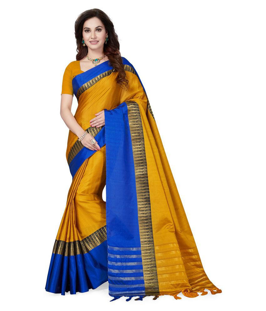 ddcfb9e0e8a Ishin Yellow and Blue Art Silk Saree - Buy Ishin Yellow and Blue Art ...
