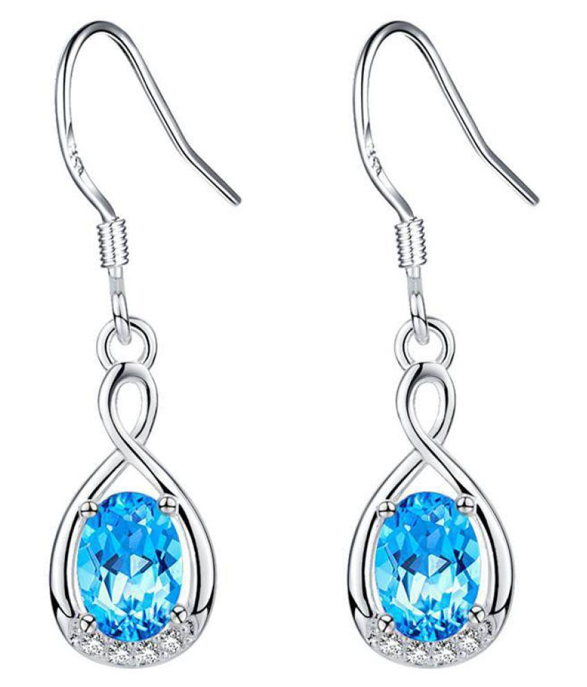 Kamalife Fashion Blue Glyph Bling Bling Diamond 1 Pair Earings Jewellery