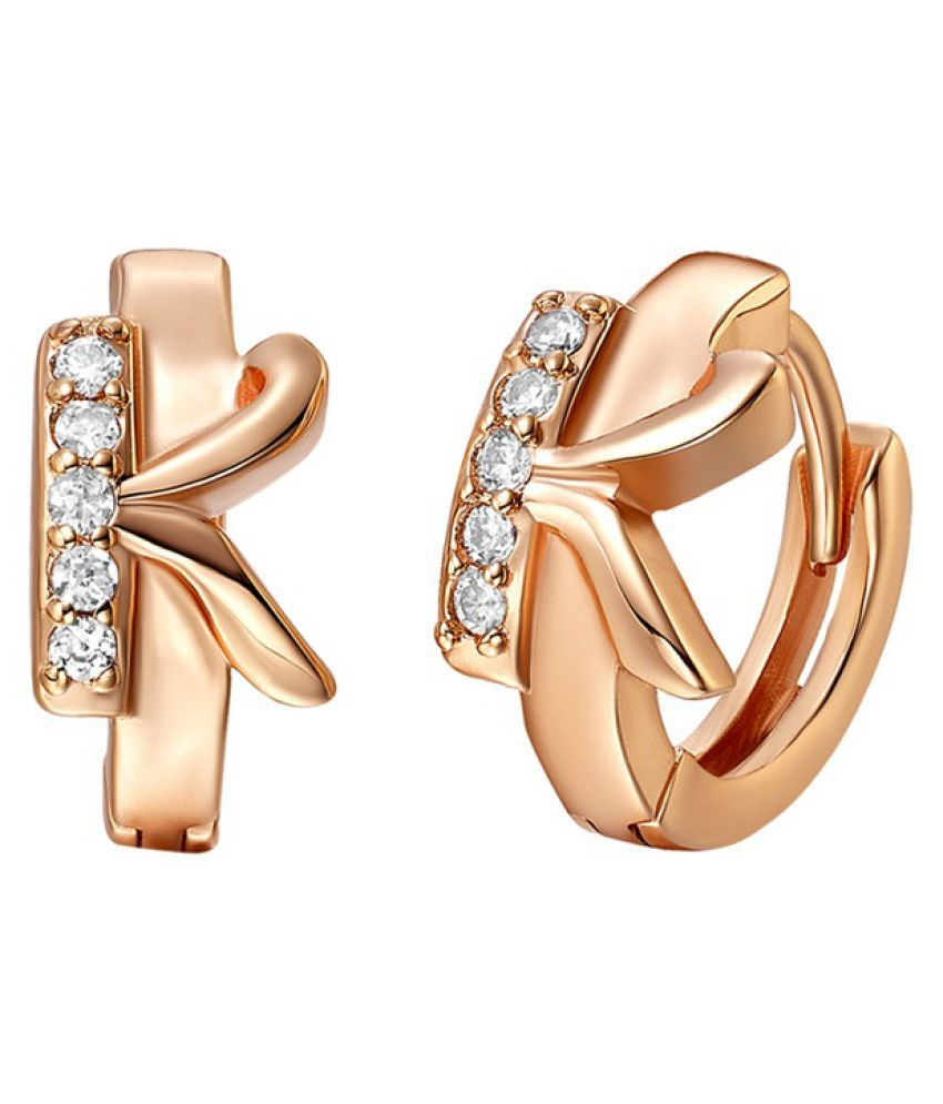 Kamalife Fashion Rose Gold Letter K Plating 18K Bling Bling 1 Pair Earings Jewellery