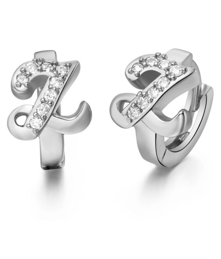 Kamalife Fashion White Letter Z Plating 18K Bling Bling 1 Pair Earings Jewellery