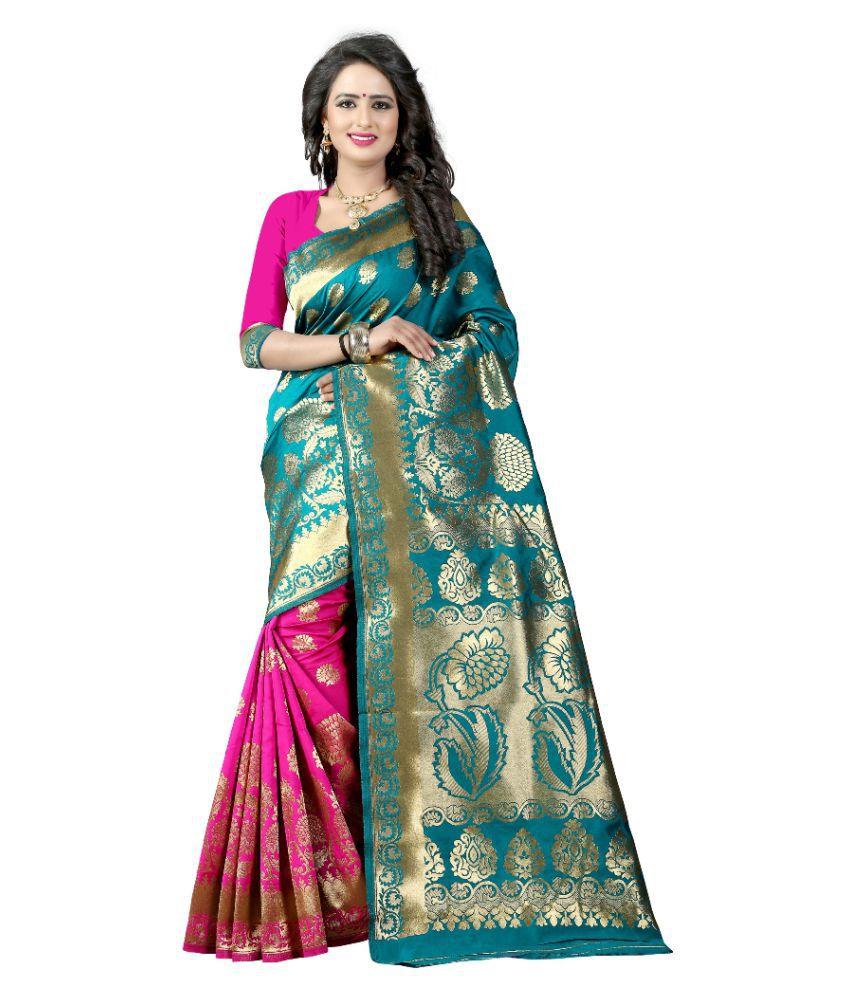 gopal fashion Blue Banarasi Silk Saree