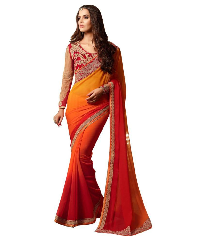 gopal fashion Red and Orange Georgette Saree