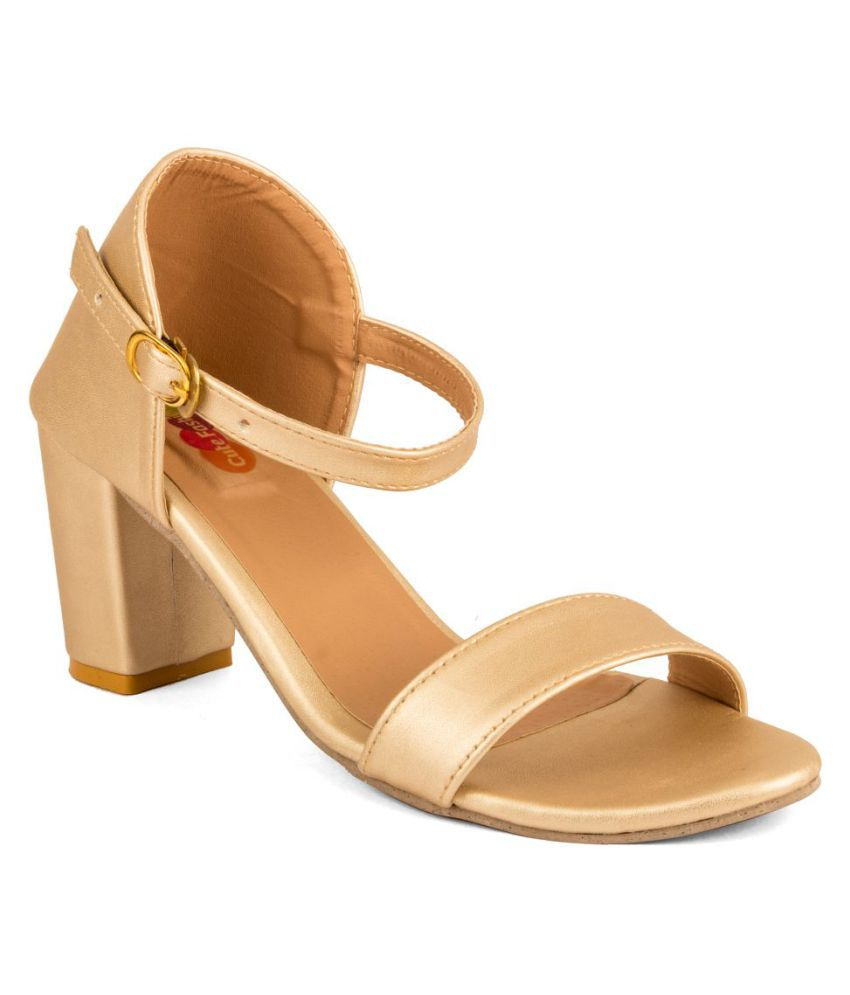 80180ede207 Cute Fashion Gold Block Heels Price in India- Buy Cute Fashion Gold Block  Heels Online at Snapdeal