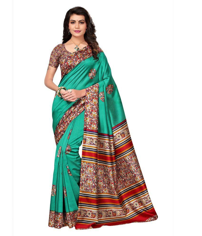Lady Shopi Green Cotton Silk Saree