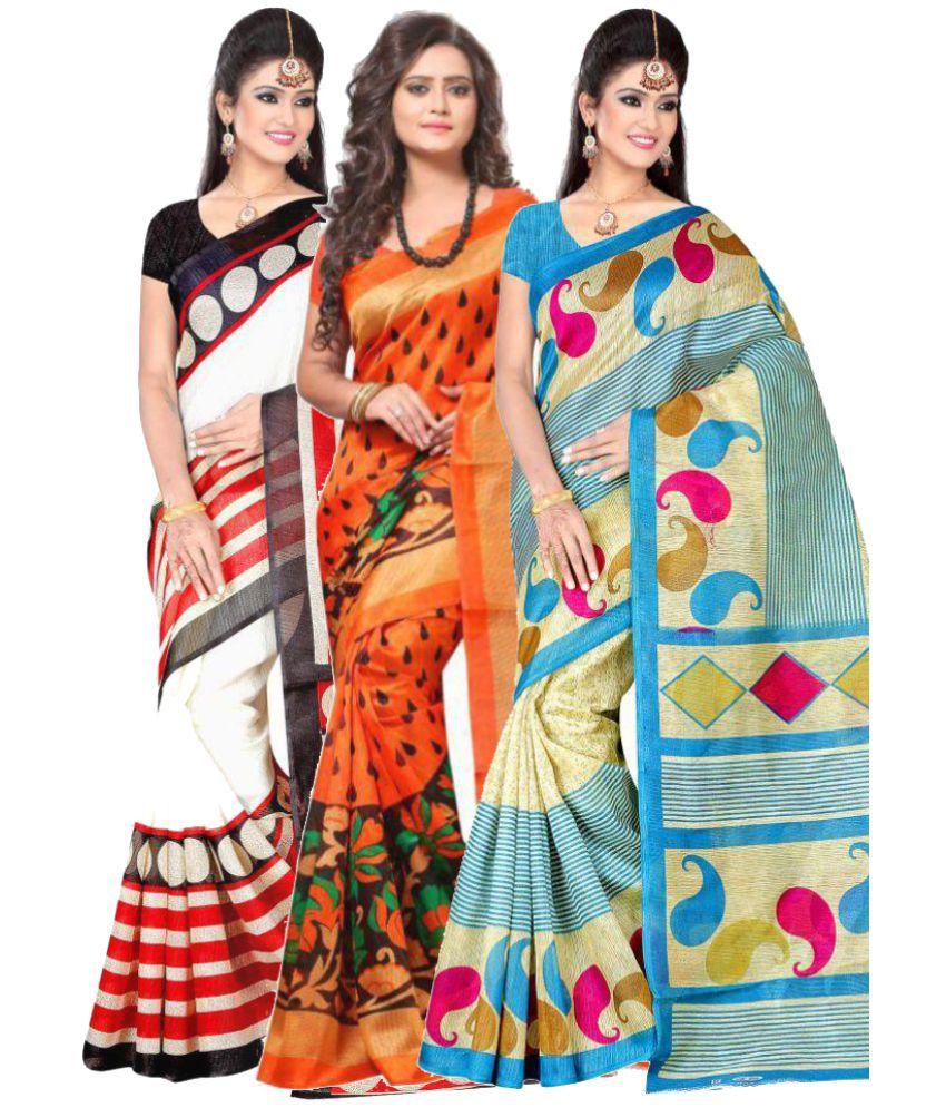 Sukuma Multicoloured Bhagalpuri Cotton Saree Combos