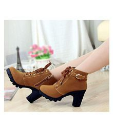 WWW.GOBUU.IN Brown Ankle Length Bootie Boots