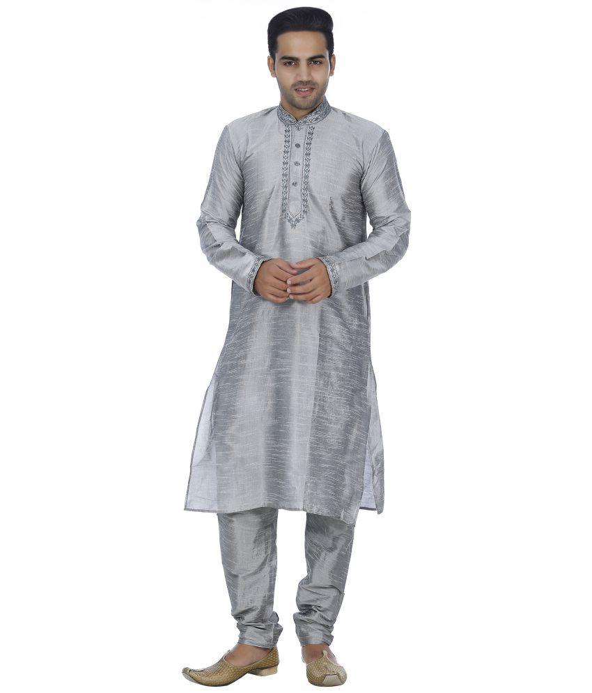Bhartiya Light Grey Silk Blend Kurta Pyjama Set Pack of 1