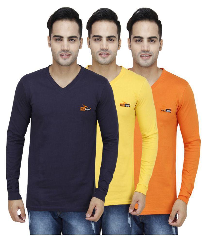 PRO Lapes Multi Full Sleeve T-Shirt Pack of 3