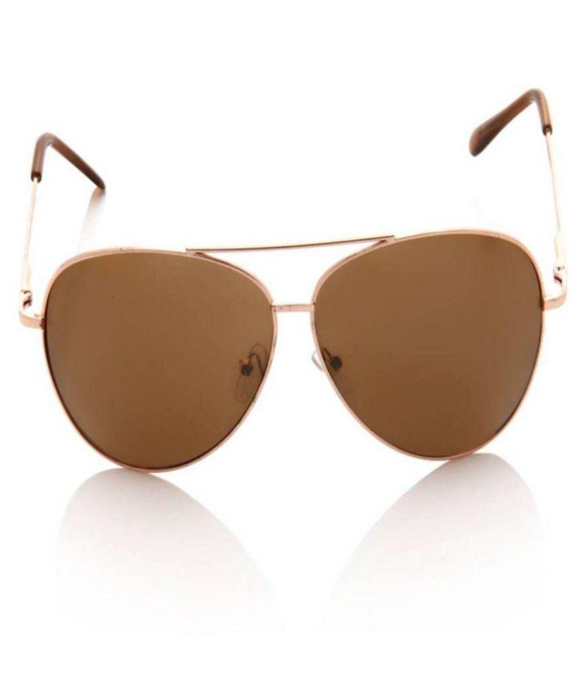 YAARA Brown Aviator Sunglasses ( brown &gold )