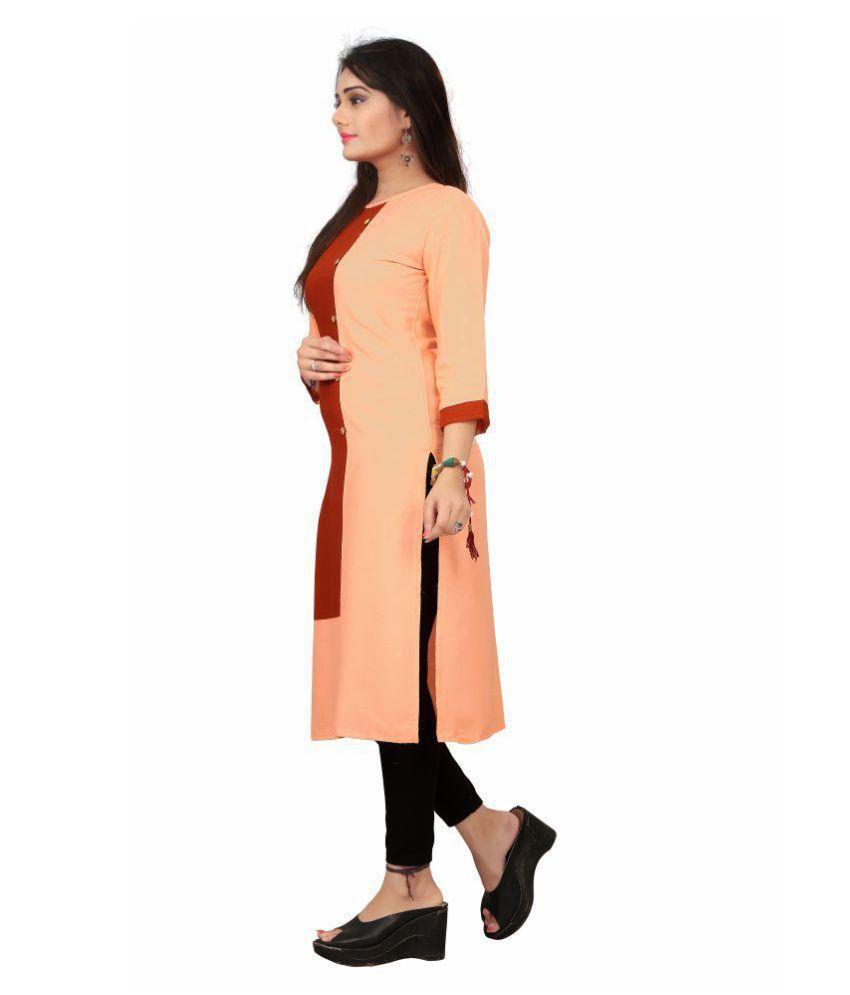 THE 9192 Orange Rayon Straight Kurti