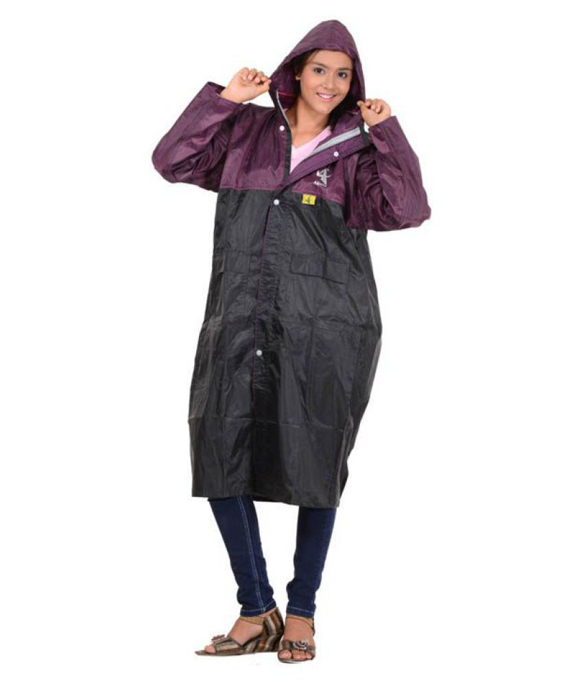 Allwin Polyester Long Raincoat - Black
