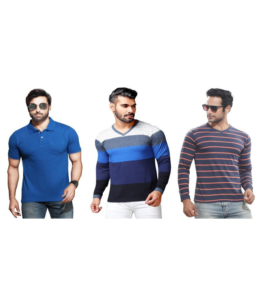 KUNDAN SULZ GWALIOR Blue Full Sleeve T-Shirt Pack of 3