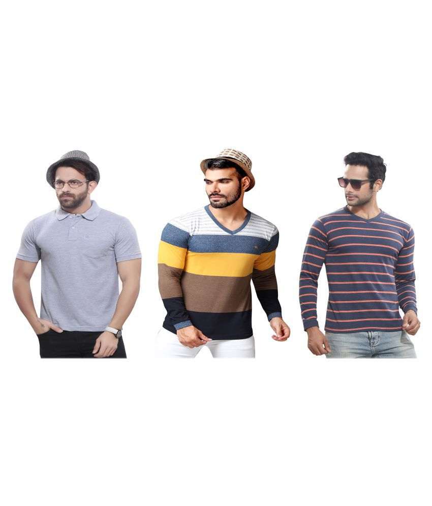 KUNDAN SULZ GWALIOR Grey Full Sleeve T-Shirt Pack of 3