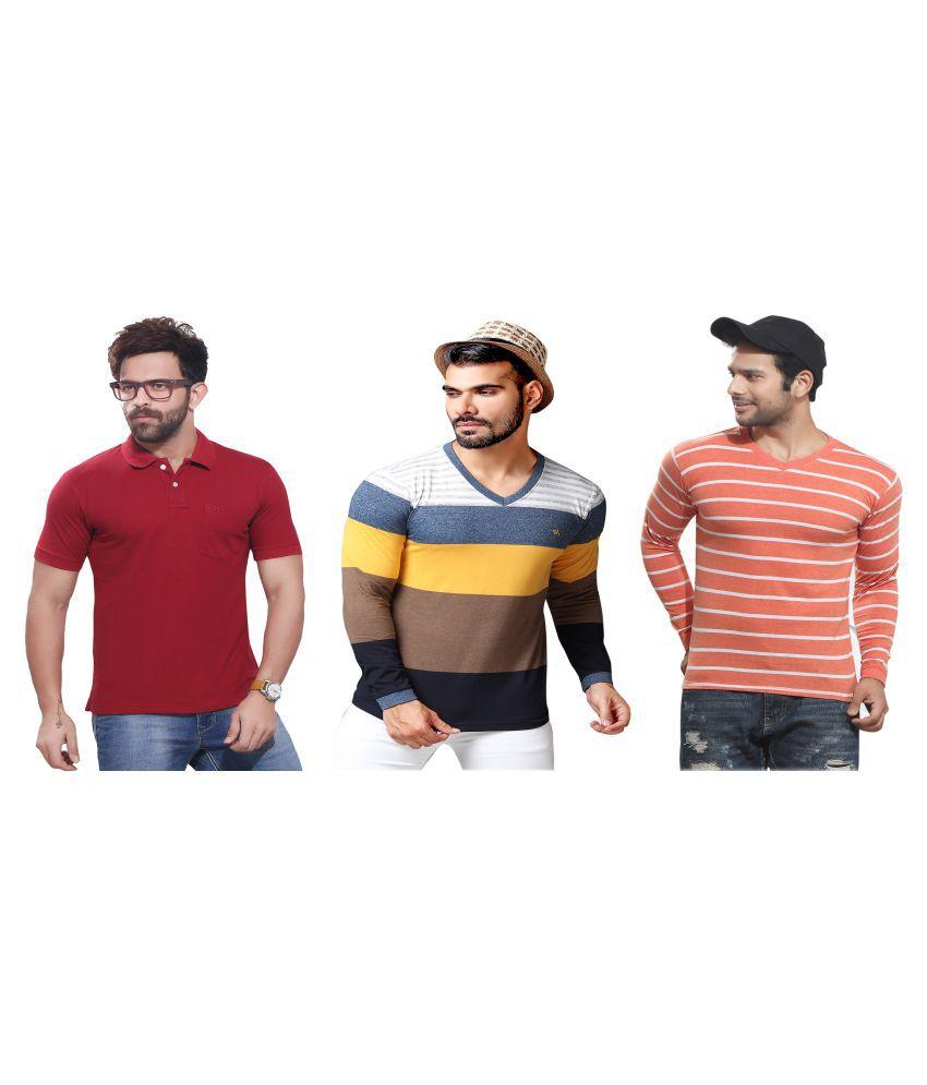 KUNDAN SULZ GWALIOR Maroon Full Sleeve T-Shirt Pack of 3