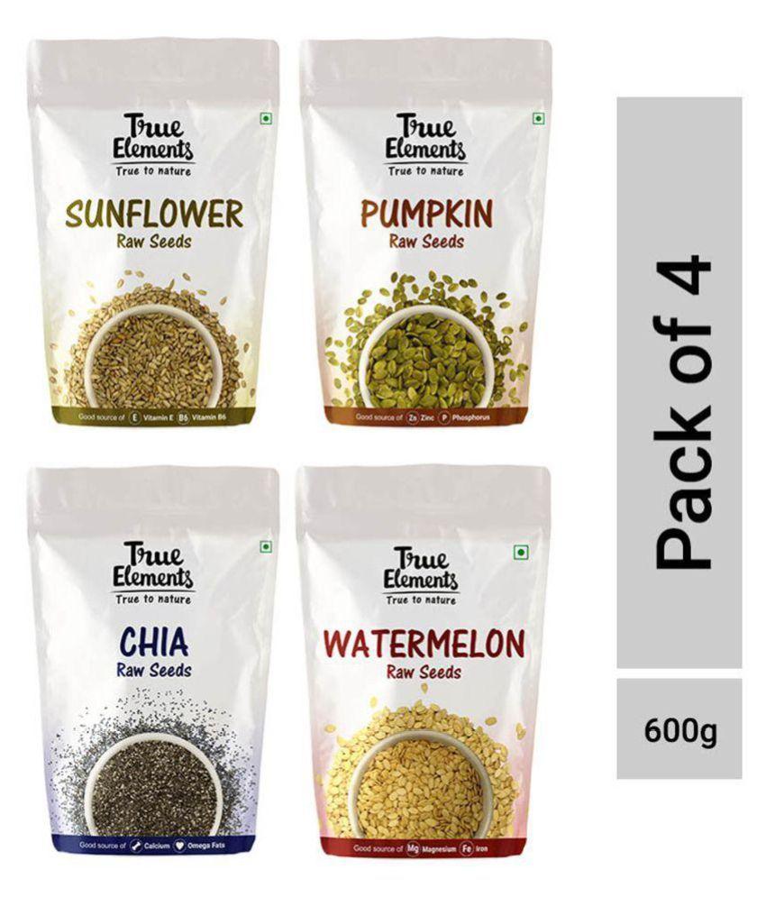 True Elements Raw Sunflower Pumpkin Chia And Watermelon Seeds 150g each each Pack of 4