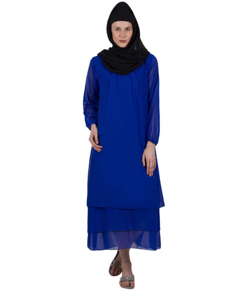 G & M Collections Poly Georgette Blue A- line Dress