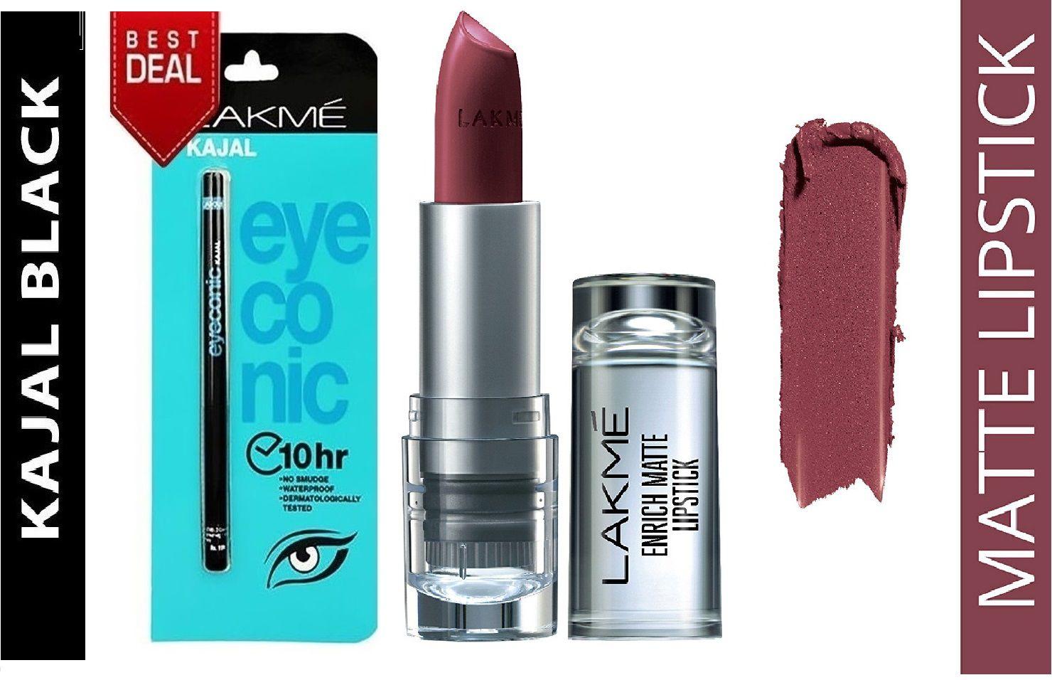 fd1cca71d7 Lakme Enrich Matte Lipstick & Eyeconic Kajal Combo Shade RM10 Face gm Pack  of 2: Buy Lakme Enrich Matte Lipstick & Eyeconic Kajal Combo Shade RM10  Face gm ...