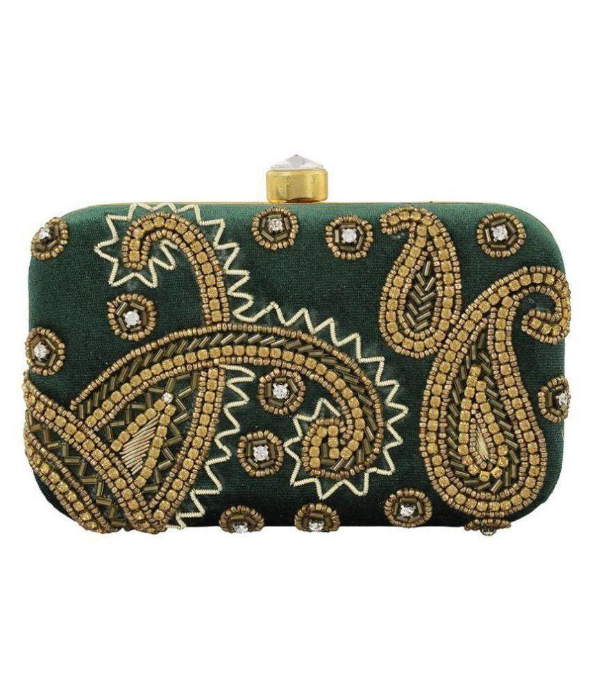 Tooba Handicraft Green Fabric Box Clutch