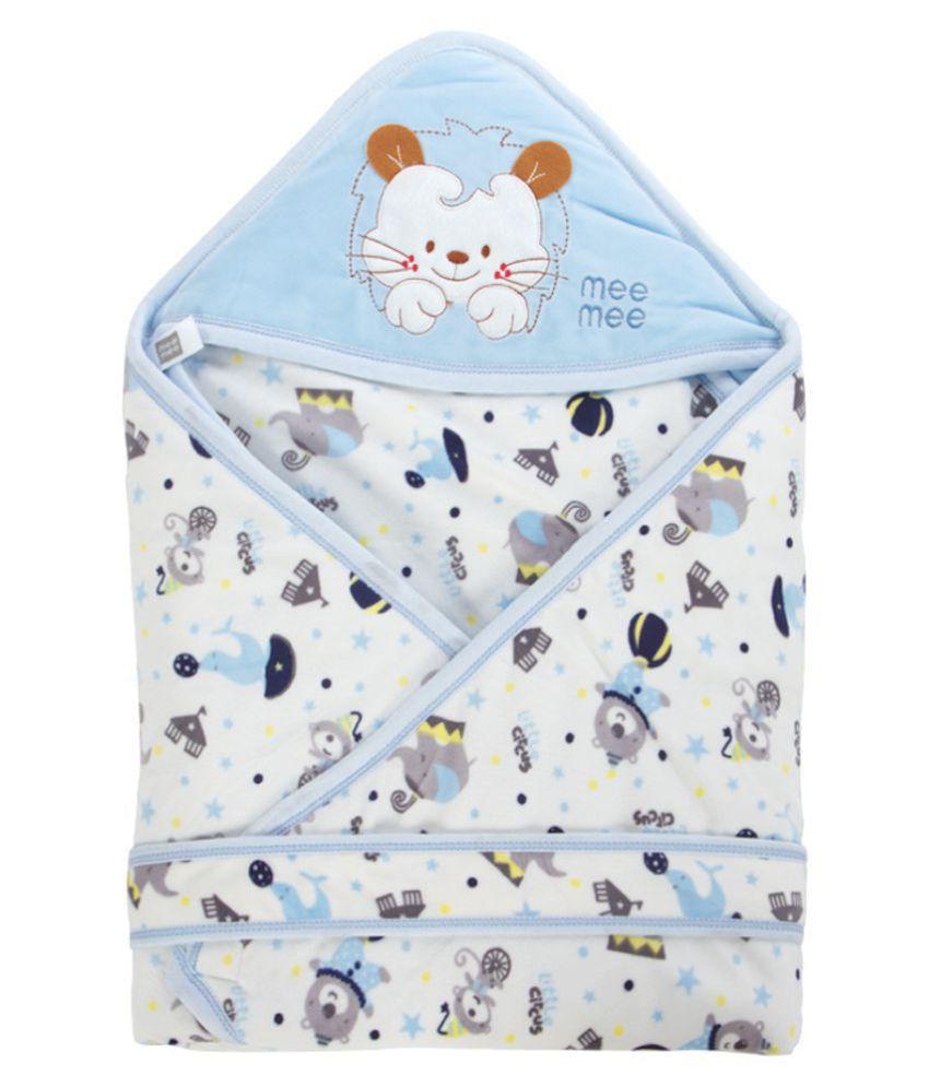 Mee Mee Blue Cotton Baby Wrap cum blanket ( 39 cm × 7 cm - 1 pcs)